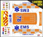 EMS Ambulance Emergency themed vinyl SKIN Kit & Stickers To Fit Tamiya Lunchbox R/C Monster Truck